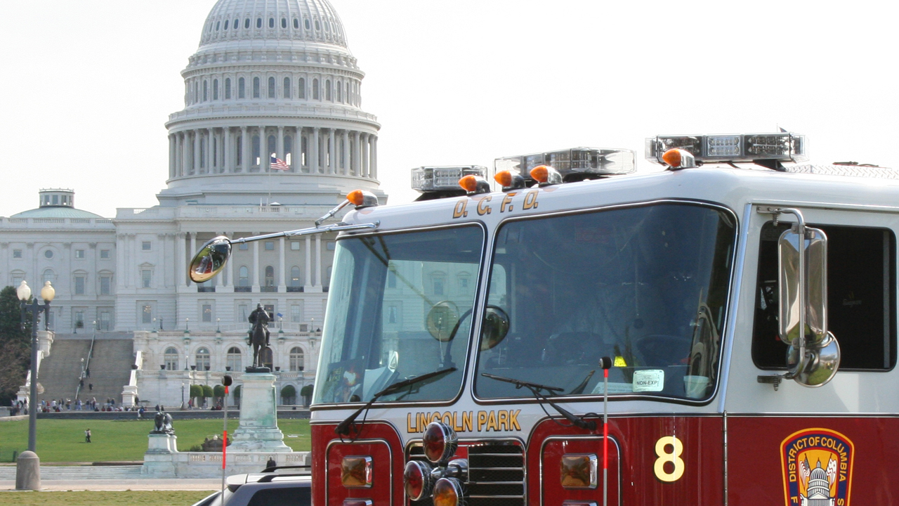 Apparatus in front of the US Capitol at CFSI Fire Showcase