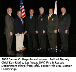 2008 James O. Page Award winner: Retired Deputy Chief Ken Riddle, Las Vegas (NV) Fire